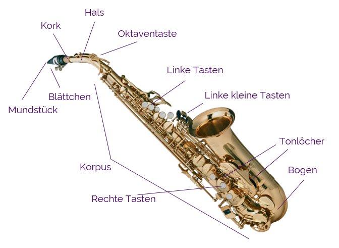 Aufbau eines Saxophons